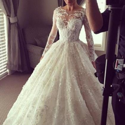 Beautiful Lace Wedding Dress,Illusi..