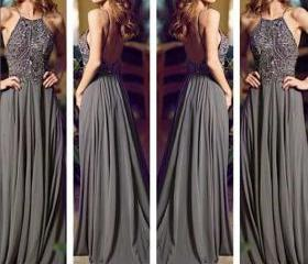 Gray Long Prom Dress..