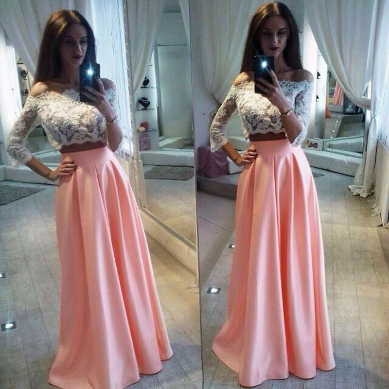 e78c991f33c3 Elegant Lace Two Pieces Formal Dress Cheap A-Line Off The Shoulder Pink  Prom Dress