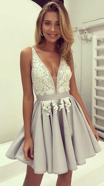 e8a9529e0729 Charming Short Prom Dress,Deep V neck Satin Short Prom Dress,Cute Prom Dress ,Short Homecoming Dress,Lace Applique Short Homecoming Gowns,Beauty Short  Prom ...