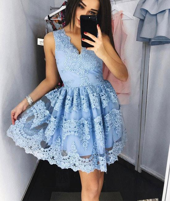 f4bcceab35f1 Charming Prom Dress,Cute Lace Short Prom Dress,Blue Lace Short Prom Dress,