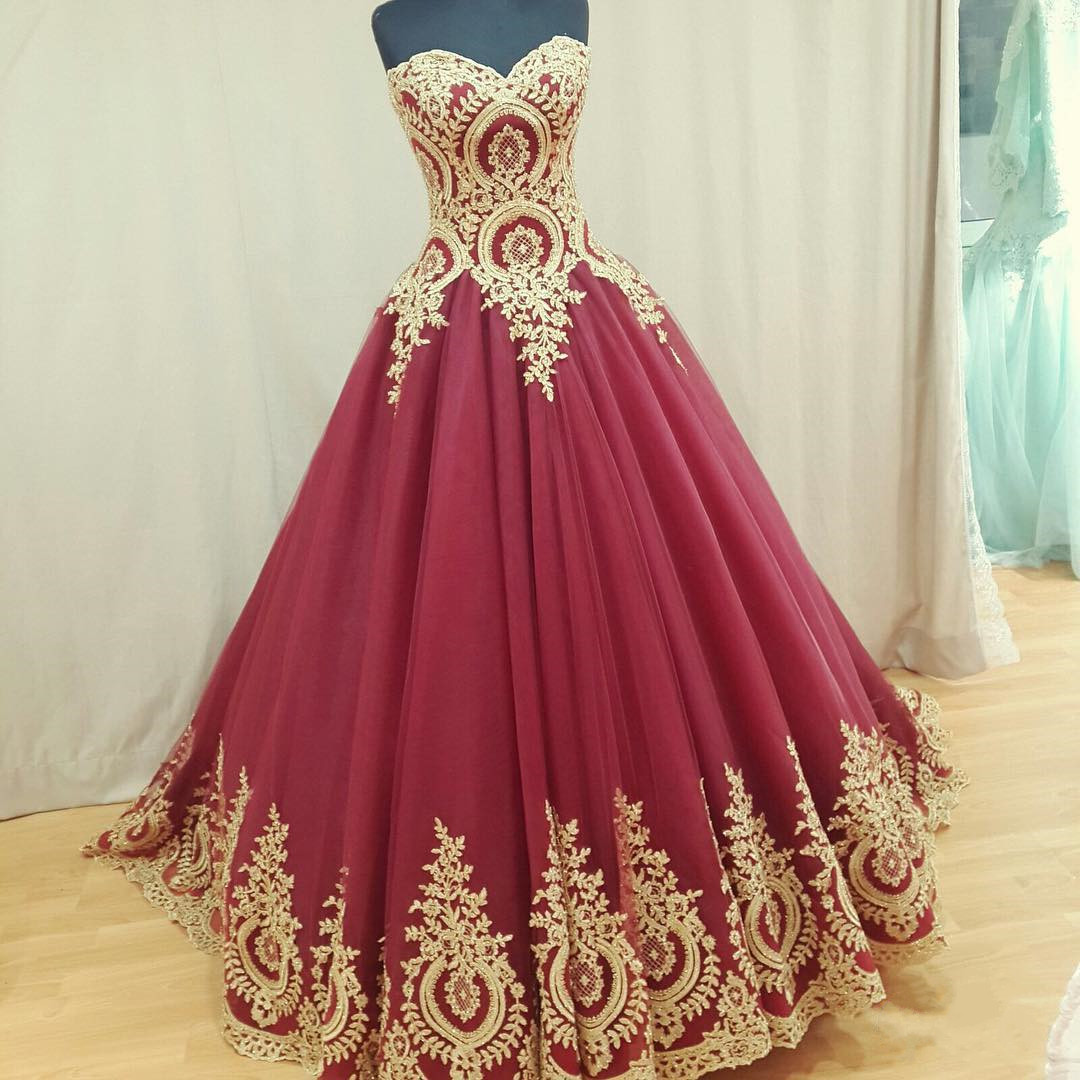 Wine Red Wedding Dress,Ball Gown Wedding Dresses,Bridal Dress ...