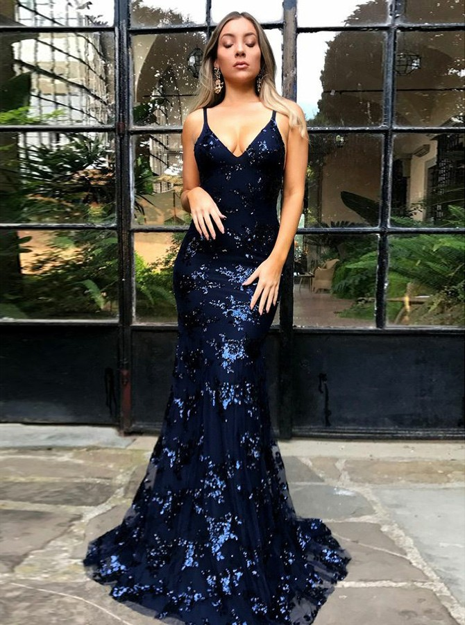 Navy Blue Prom Dress Backless Prom Dress Spaghetti Straps Prom Dress Sexy Party Dress Sexy Prom Dress On Sale Fashion Prom Party Dress Wedding Guest