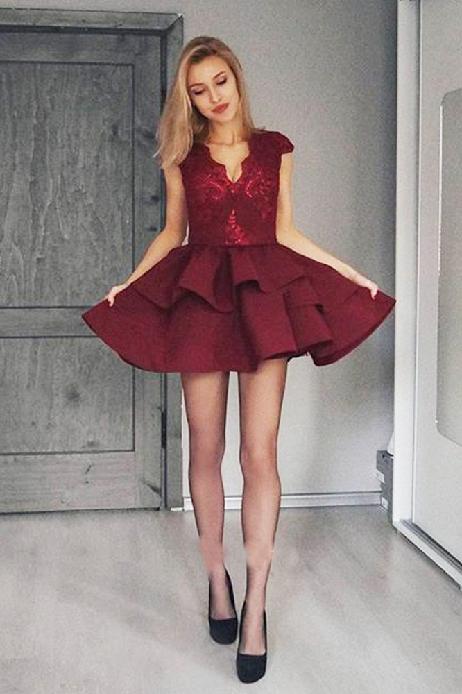 326c96e076f Homecoming Dresses,Lace Burgundy Short Prom Dresses,Cute A Line V Neck  Satin Homecoming