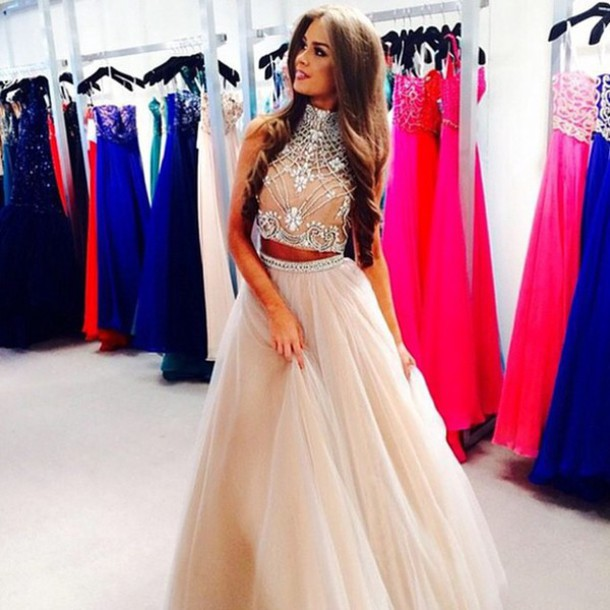 Crystal Beaded Top Long Prom Dress