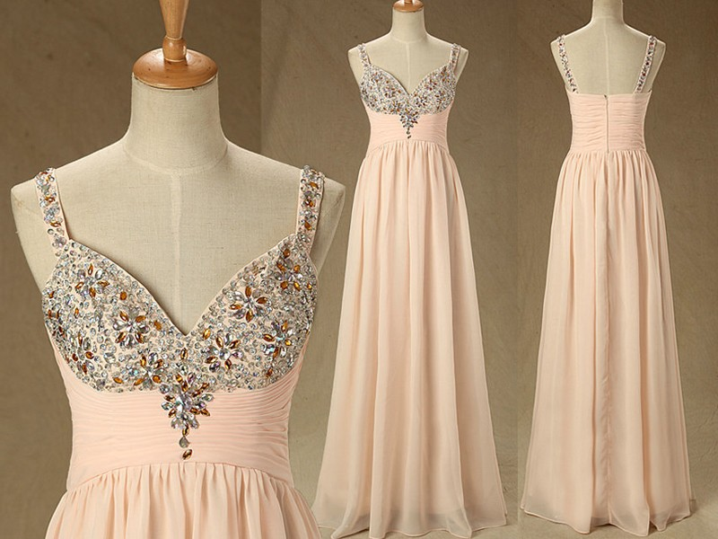 Modern Flesh Pink Long Chiffon Party Gown Deep V-Neck Beaded Crystal Sexy Back Women Prom Dresses 2015