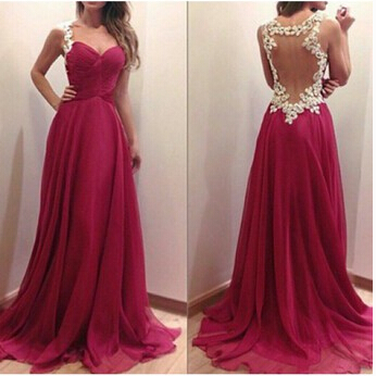 Elegant Handmade Burgundy Prom Dress 2015, Appliques Evening Gowns, Chiffon Floor Length Prom Dress, Elegant Prom Dresses, Evening Dresses
