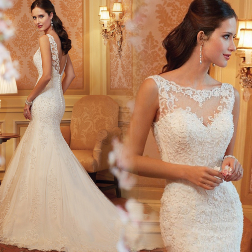Custom Made Lace Mermaid Wedding Dress,Formail Dress For Wedding,Sexy Bridal Gown,Wedding Dresses 2015,Blackless Wedding Gowns,The Elegant Bridal Dresses