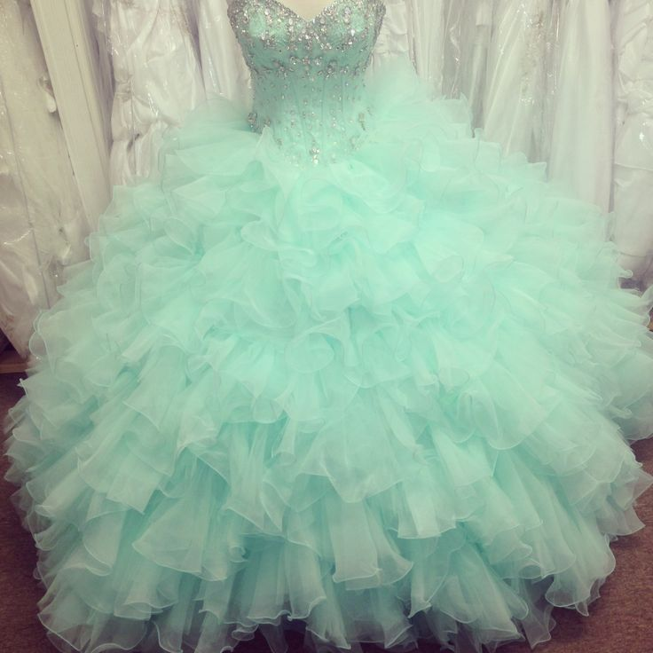 77add7458cb Puffy Mint Green Ball Gown Prom Dresses Organza Beaded Ruffled Quinceanera  Dresses
