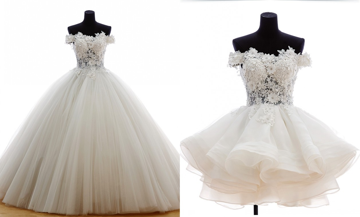 Luxury 2 Pieces Ball Gown White Wedding Dress 2015 Vestidos De Noiva ...