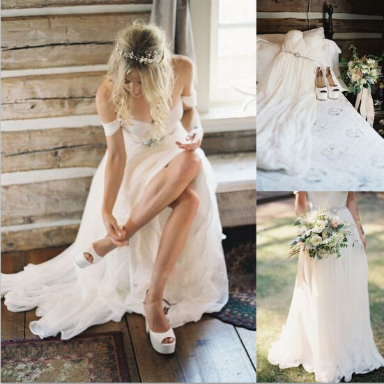 Custom Sexy Shoulder A Line V-Neck Chiffon Wedding Dress,Wedding Gown With Beautiful White/Ivory Wedding Dress,Wedding Dress 2015,Charming Bridal Dress,Bridal Gowns For Weddings,The Elegant Evening Dress,Prom Dress