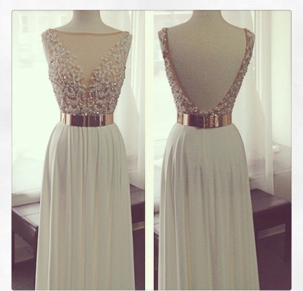 Custom Made A Line Backless Prom Dress With Gold Belt,Beading Chiffon Long Evening Dress,Dress For Prom,Formal Dress For Wedding,