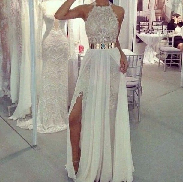 High Low Chiffon Dress with White Gold