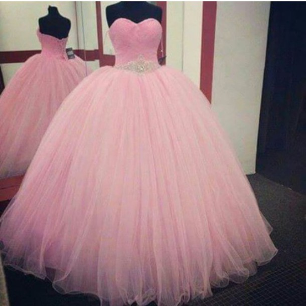 Pink Prom Dress,Ball Gown Prom Dress,Princess Prom Gown,Beaded ...