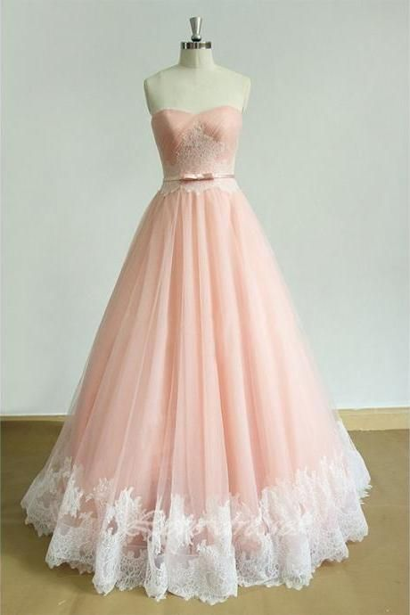 2016 New Style Prom Dress A Line Liques Pink Tulle Sweetheart Evening