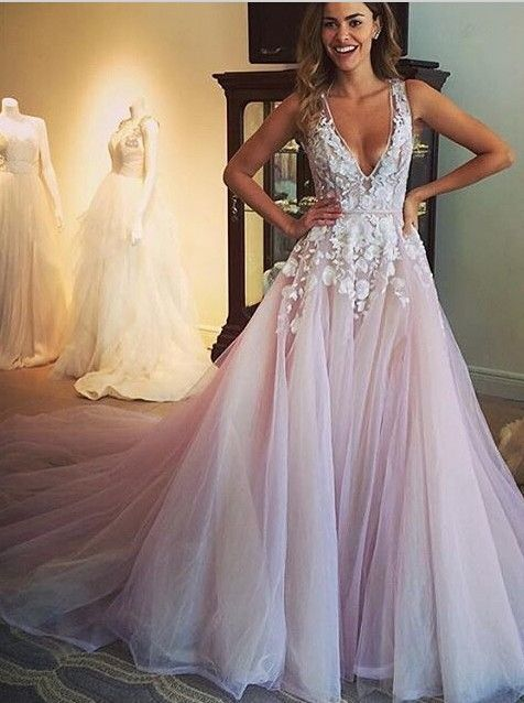 2016 Custom Made Wedding Dresses,Pink Wedding Dress,Appliques Prom Dress,Long Prom Dress 2016,Gorgeous A-line Scoop Wedding Dress,Gorgeous Prom Dress,