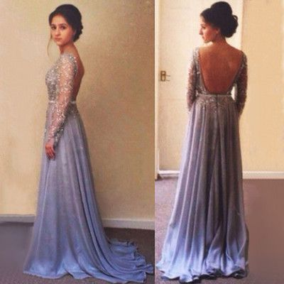 4a677700c49 Gorgeous Long Sleeve Beading Prom Dress