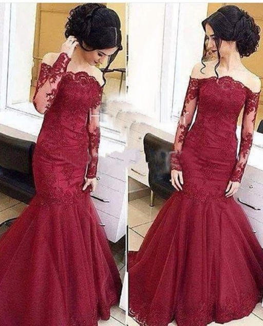 62e07518ae0 Burgundy Long Sleeves Prom Dress