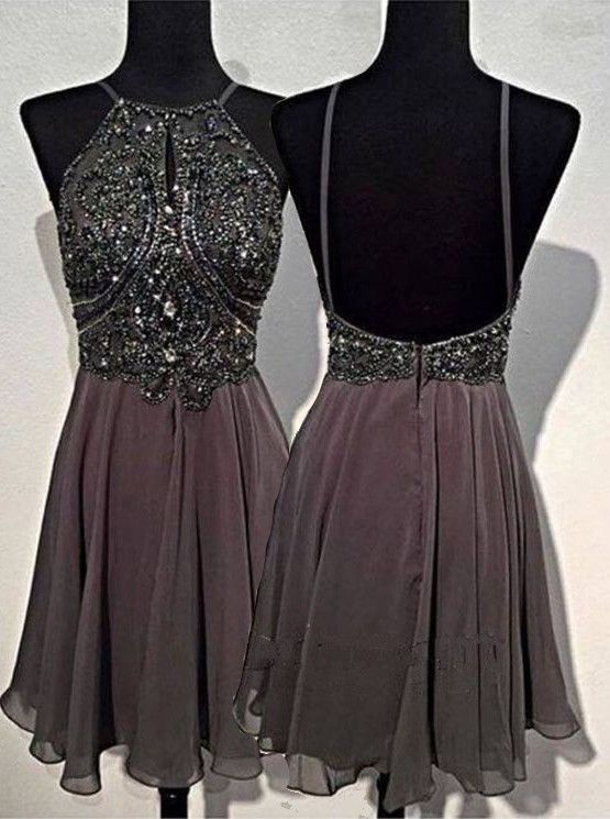 A Line Round Neck Homecoming Dresses,Short Grey Backless Prom Dress ...