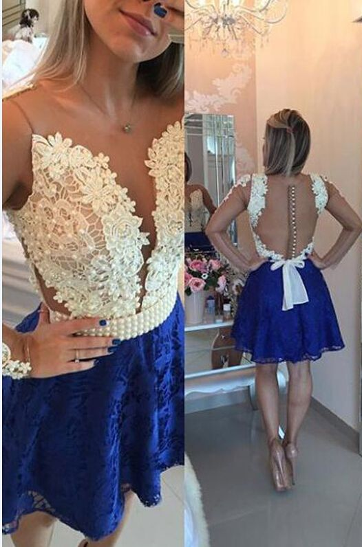3297e98320d A-line Lace Homecoming Dress With Beading