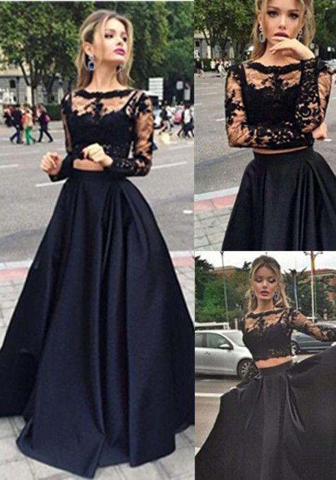 Two Pieces Prom Dress 2016 High Quality Black Lace Long Sleeve Satin Gowns A Line Evening Party