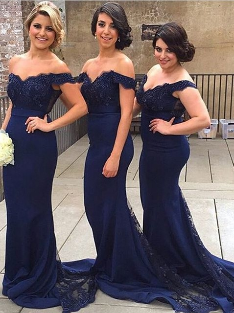 5694ea38bab Mermaid Off Shoulder Court Train Lace Navy Blue Bridesmaid Prom Dress