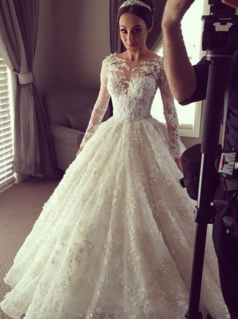 Beautiful Lace Wedding Dress,Illusion Long Sleeves Wedding Dress,Ball Gown Wedding Dress,Wedding Dress 2016,Bridal Dress For Wedding,Custom Made Wedding Dress