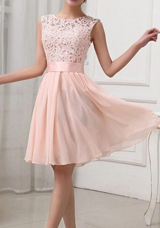 60c373204ed Light Pink Patchwoork Lace Homecoming Dress