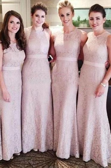 Charming Prom Dress,Lace Bridesmaid Dresses,Sheath/Column Bridesmaid Dresses,Pink Bridesmaid Dresses, Long Bridesmaid Dresses,Wedding Party Dress,New Style Beautiful Bridesmaid Dresses,