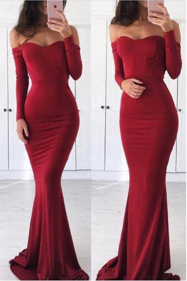 Sexy Off Shoulder Prom Dress,Sexy Mermaid Red Prom Dress,Mermaid Long Sleeves Party Dress,High Quality Red Graduation Dress,Long Evening Dress,Sexy Formal Dress,