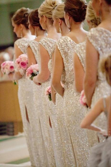 Custom Made Shimmery Sequin Long Bridesmaid Dress with Side Split