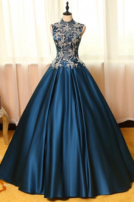 Gorgeous Prom Dress,Blue Satin Prom Dress,Lace Applique Prom Dress,Long Prom Dresses,Ball Gown Dresses,A-line Prom Dresses,Vintage Prom Dress,Formal Party Dress,Charming Evening Dress,