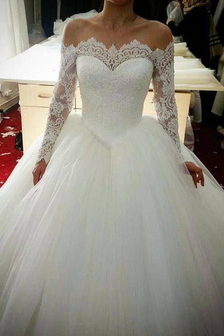 Lace Off-The-Shoulder Long Sleeves Floor Length Tulle Wedding Gown