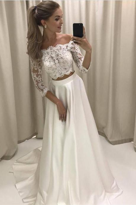 White Lace Prom Dress,Two Pieces Prom Dresses,Lace Sleeves Prom Dresses,Lace Party Dress,Custom Made Prom Dress,Sexy Prom Dress,Long Evening Dress,New Style Formal Dress,