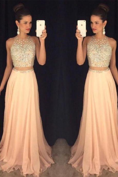 High Quality Prom Dress,Beaded Prom Dress,Two Pieces Prom Dress,Prom Dresses for Teens,Custom Made Party Dress,Chiffon Long Prom Dress,Graduation Dress,