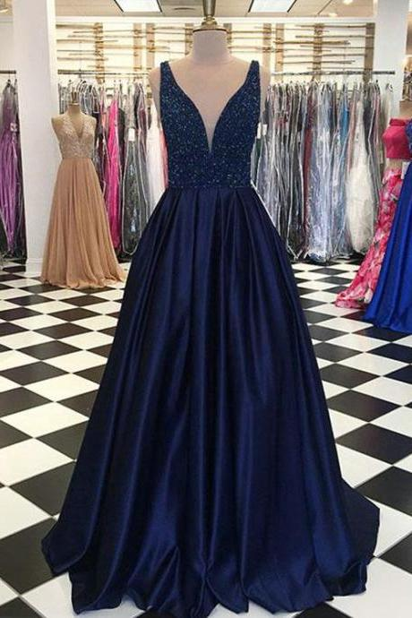Charing Prom Dress,Prom Dress 2018,Long Prom Gowns,Sexy Prom Dress,Navy Blue Elastic Satin Prom Dresses ,Beaded Prom Party Dress,Formal Dress,