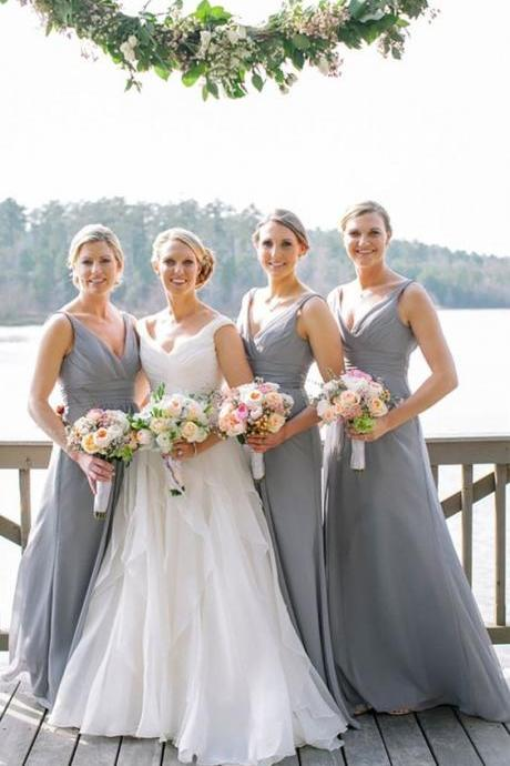 Grey Bridesmaid Dresses,Chiffon Bridesmaid Dresses,Long Bridesmaid Dresses,Wedding Party Dress,Simple Bridesmaid Dresses,Cheap Bridesmaid Dresses,A line Bridal Dress,