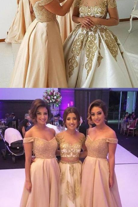 Champagne Bridesmaid Dresses,Off the Shoulder Bridesmaid Dresses,Satin Bridesmaid Dress,A line Prom Dress,Wedding Party Dress,Formal Evening Party Dress,