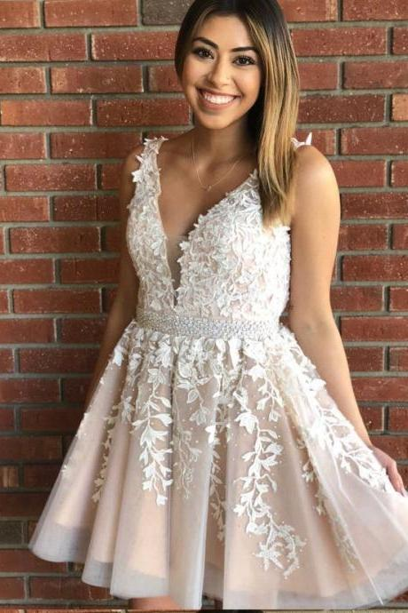 Princess V Neck Short White Lace Party Dress ,Short Prom Dress,Homecoming Dress,Lace Appliques Prom Dress,Formal Dress,Graduation Dress,