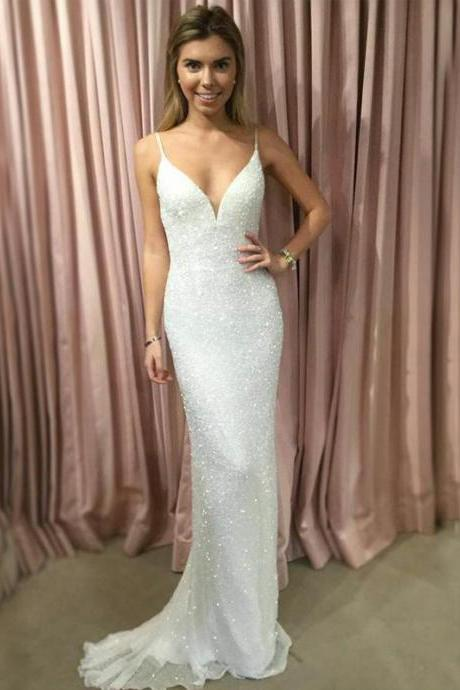 Charming Prom Dress,Sexy Backless Prom Dress,Spaghetti Straps V-Neck Prom Dresses,Beautiful Formal Evening Dress,Sexy Party Dress,Women Dress,