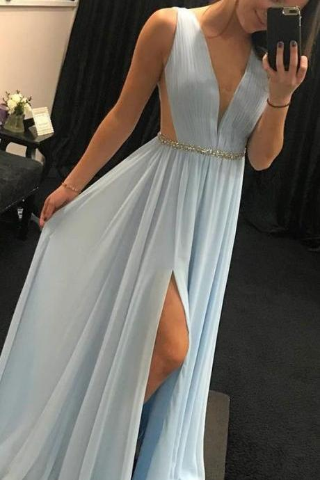 Charming Prom Dress,Sexy Prom Dress,2018 Prom Dress,Chiffon Prom Evening Dress,light sky blue long prom dress, Sexy Party Dress,