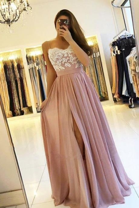 simple white lace a line prom party dress,Fashion spaghetti straps pink chiffon prom dresses long,prom dresses 2018,