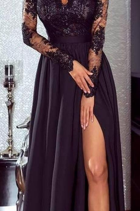 2018 Sexy Side Slit Prom Dresses_Long Sleeves Chiffon A-line Evening Gowns,Prom Dress,