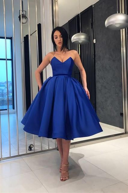 Formal Party Dress,Satin Prom Dresses, Royal Blue Satin Short Prom Dress Ball Gown ,Homecoming Dress,