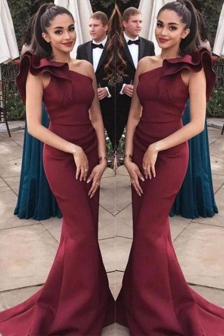 Burgundy Prom Dress,One Shoulder Prom Dress,Mermaid Long Evening Prom Dresses,Charming Party Dress,