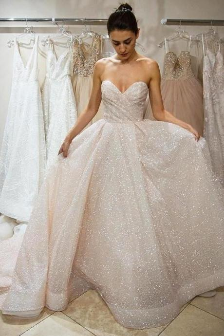 Wedding Dresses,Sparkly Sequined Wedding Dresses,Sweetheart A-line Wedding Dresses, Backless Bridal Dress