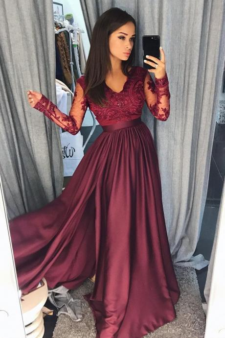 Charming Long Sleeves Prom Dresses,Lace Prom Dresses,Party Dressses,A Line Burgundy Prom Dresses, Prom Dresses