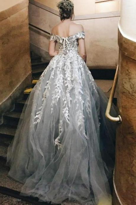 Charming Gary Prom Dresses,Tulle with Lace Appliques,Off the Shoulder Prom Dresses,Lace up Quinceanera Dresses,Prom Dresses,Formal Dresses