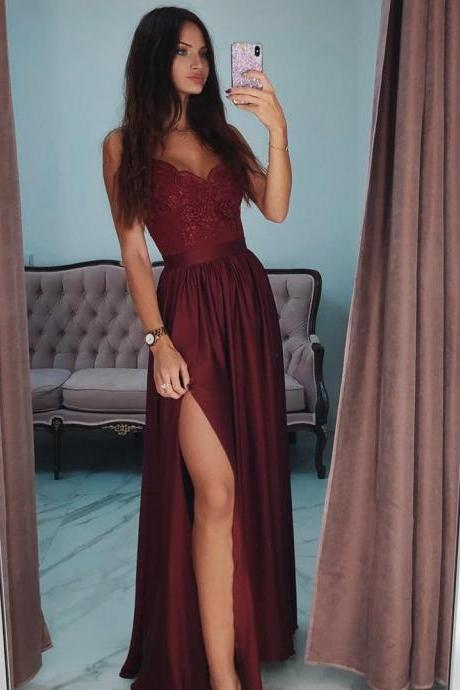 Burgundy Prom Dress,Spaghetti Straps Prom Dress,A-Line Split Prom Dress,Sexy Lace Prom Dress,Long Prom Dress