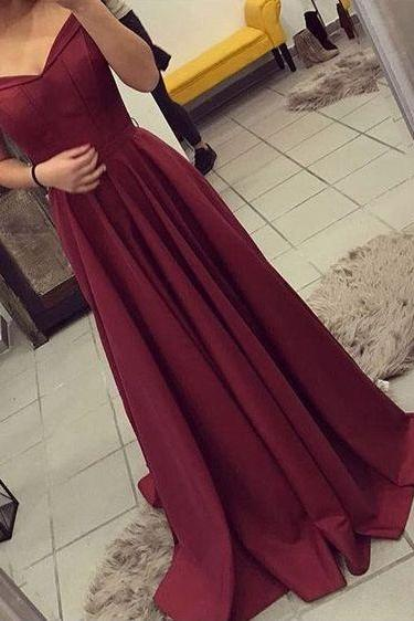 Burgundy Prom Dress,Off-the-Shoulder Prom Dress,A Line Prom Dress,Satin Prom Dress,Party Dress
